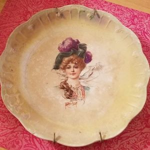 Vintage Plate with Plate Hanger, Limoges